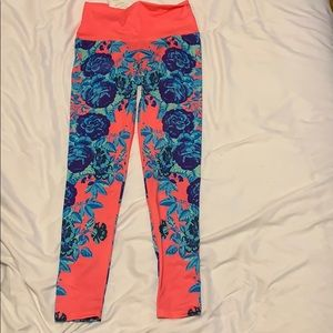 Neon floral Om Shanti workout leggings!